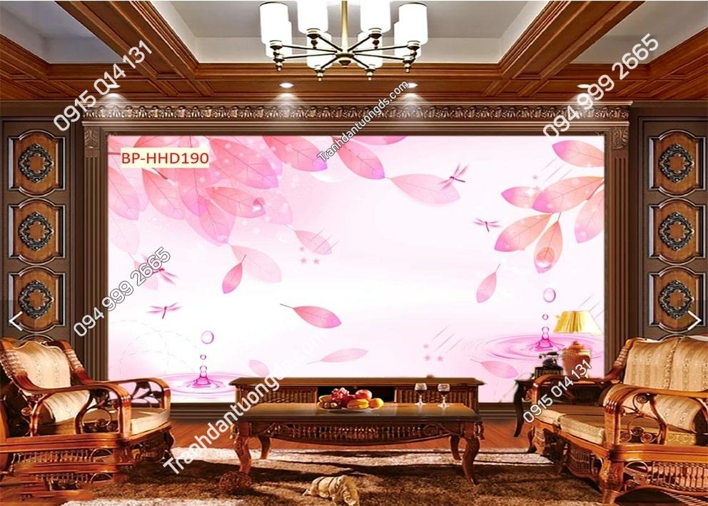 Tranh lá cây màu hồng HHD190