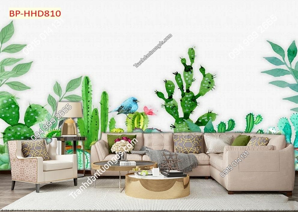 Tranh lá cây xanh 3D dán tường HHD810