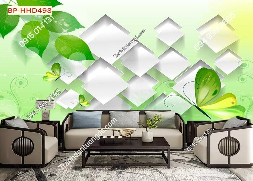 Tranh lá và bướm xanh 3D dán tường HHD498