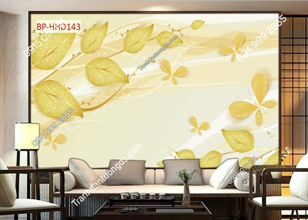 Tranh lá vàng 3D dán phòng khách HHD143