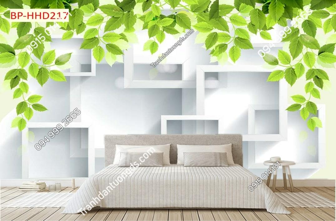 Tranh lá xanh khối vuông 3D dán tường HHD217