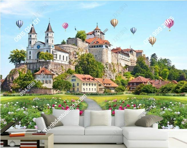 Tranh lâu đài và hoa 3D DS_15769162