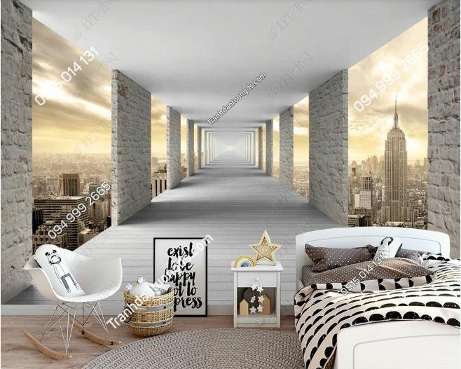 Tranh lối đi qua thành phố 3D dán tường phòng ngủ DS_17480125