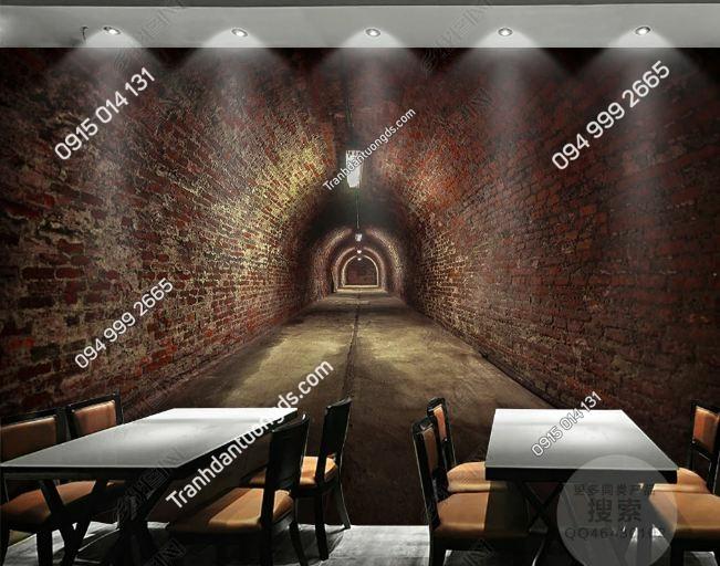 Tranh lối hầm gạch 3D cho quán ăn DS_15756840