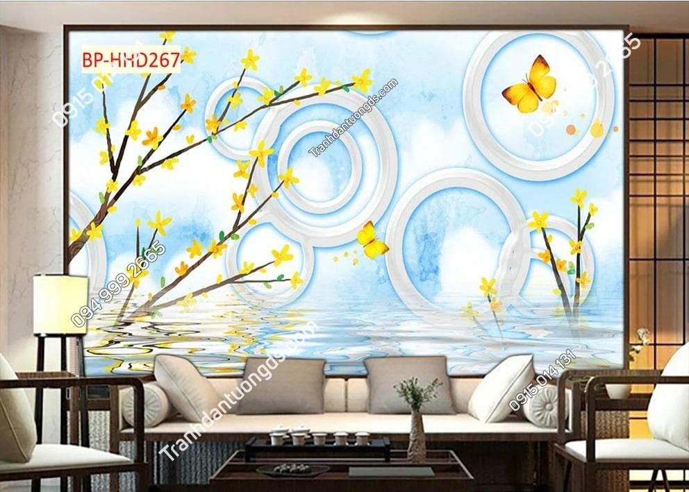 Tranh mai vàng và bướm HHD267