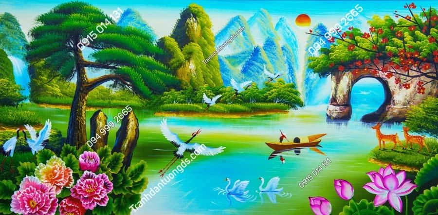 Tranh mẹ chèo thuyền trên sông DQ12