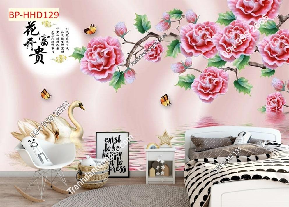 Tranh ngỗng và hoa hồng HHD129