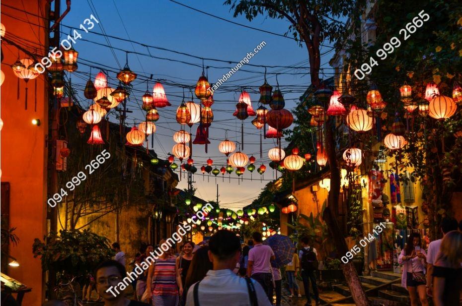 Tranh phố cổ hội an tối đèn lung linh 1171401895