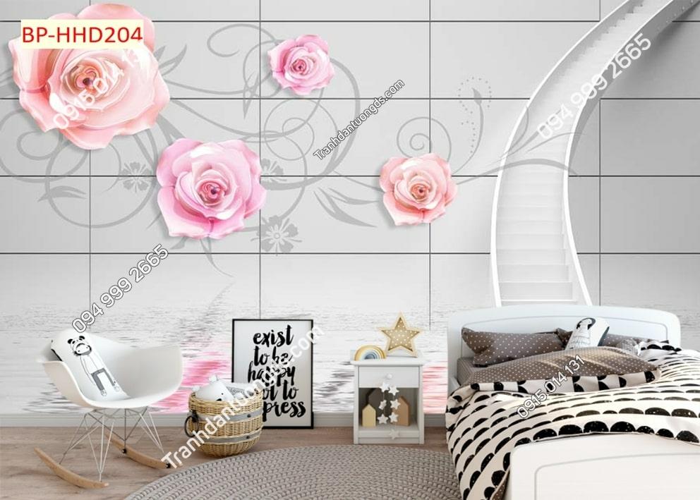 Tranh phòng ngủ hoa hồng 3D HHD204
