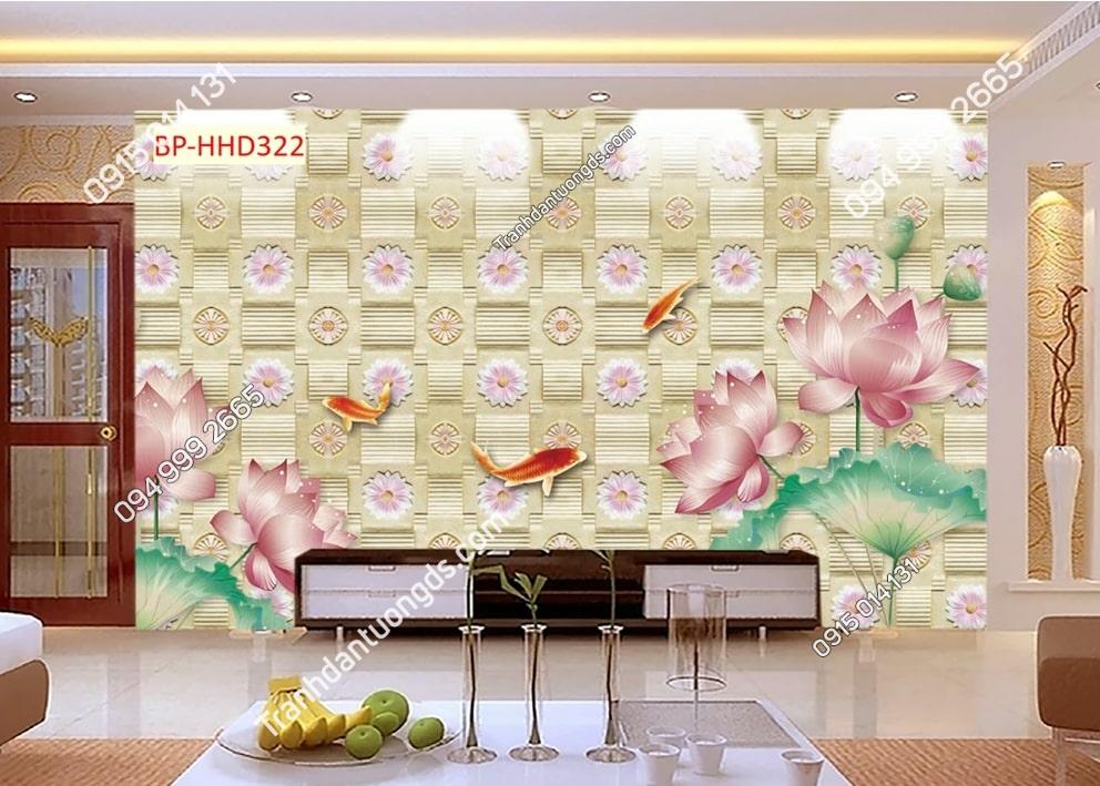 Tranh sen hồng 3D hiện đại HHD322