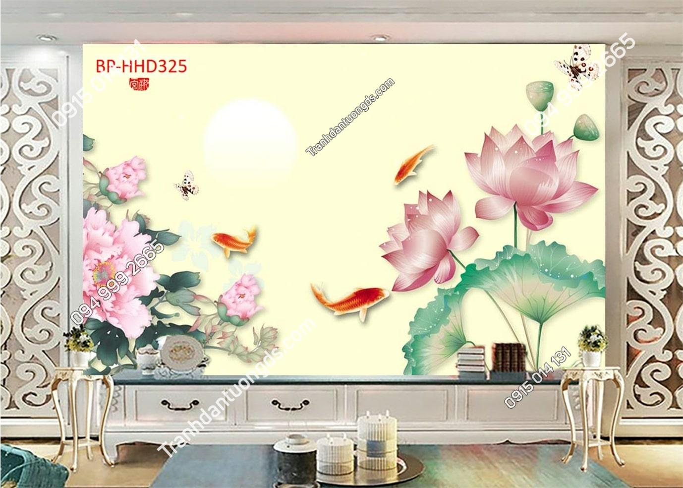Tranh sen hồng và cá HHD325