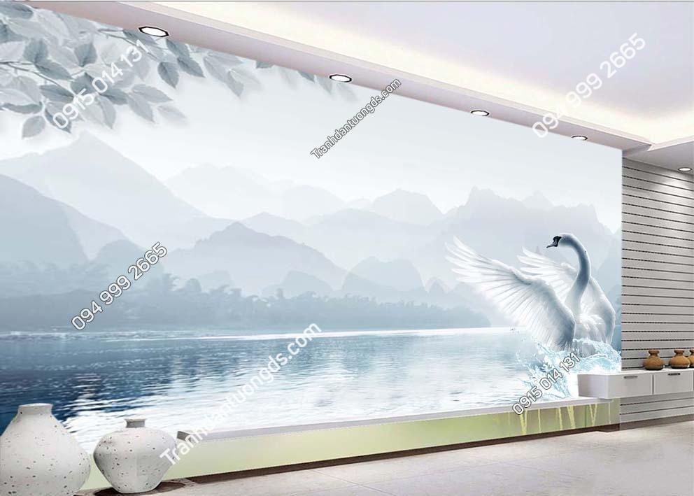 Tranh thiên nga bơi trên hồ 3D - TN3