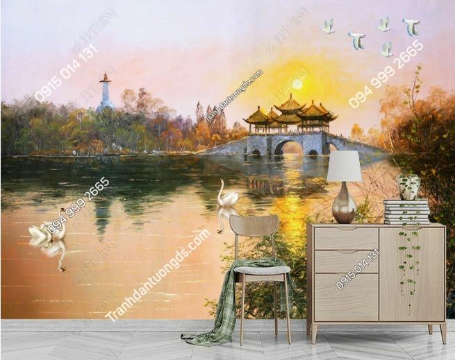 Tranh thiên nga bơi trong hồ lúc hoàng hôn DS_18370168