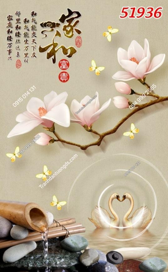 Tranh thiên nga, bướm, hoa 51936