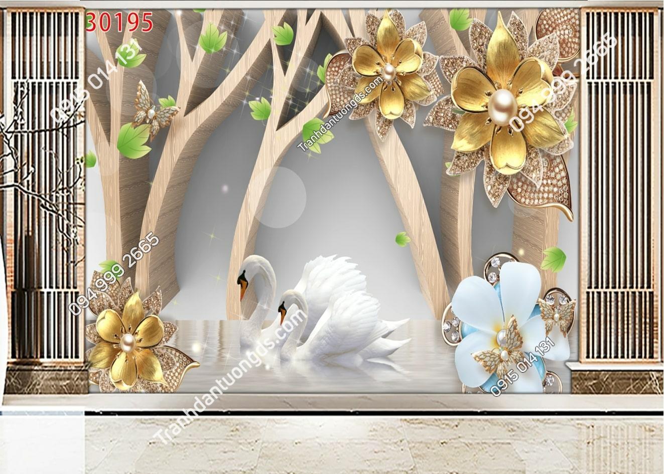 Tranh thiên nga trắng và hoa vàng 30195