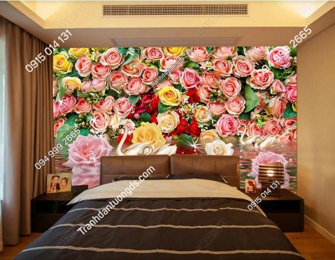 Tranh thiên nga và hoa hồng dán phòng ngủ DS_17349221