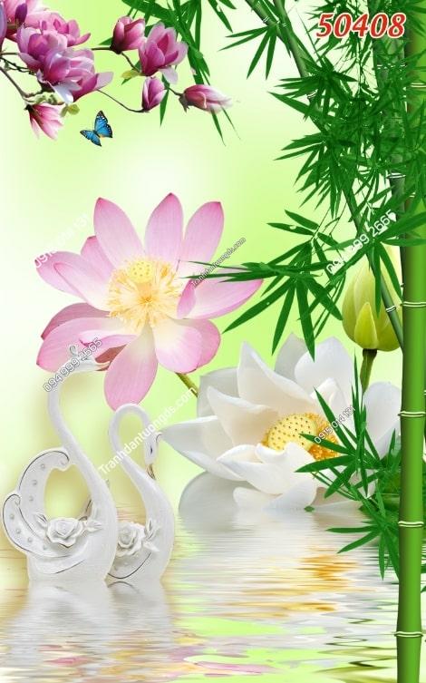 Tranh thiên nga và hoa sen 50408