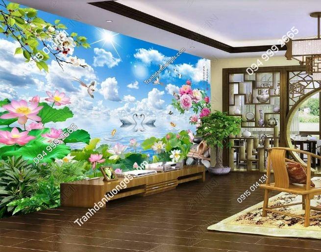 Tranh thiên nga và hoa sen đẹp 3D DS_17336680