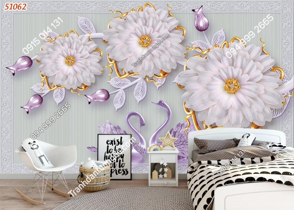 Tranh thiên nga và hoa tím 51062