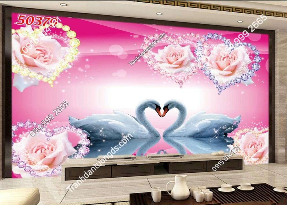 Tranh thiên nga và hoa trái tim 50370