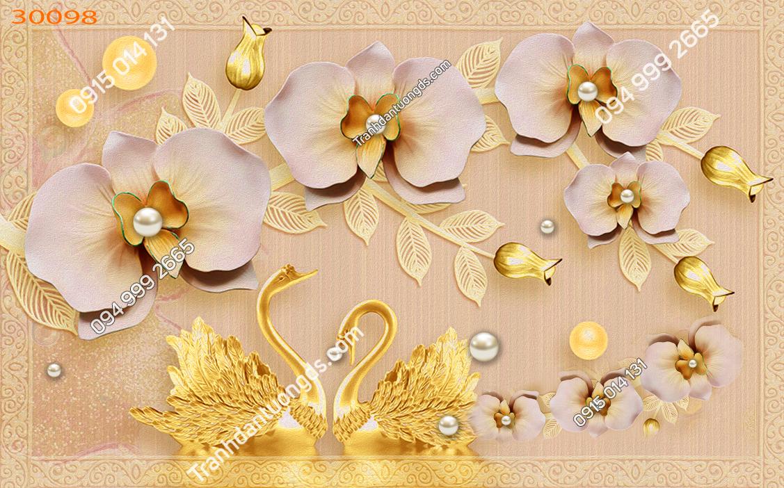 Tranh thiên nga vàng và hoa 30098
