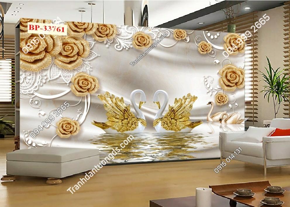 Tranh thiên nga vàng và hoa hồng vàng 33761