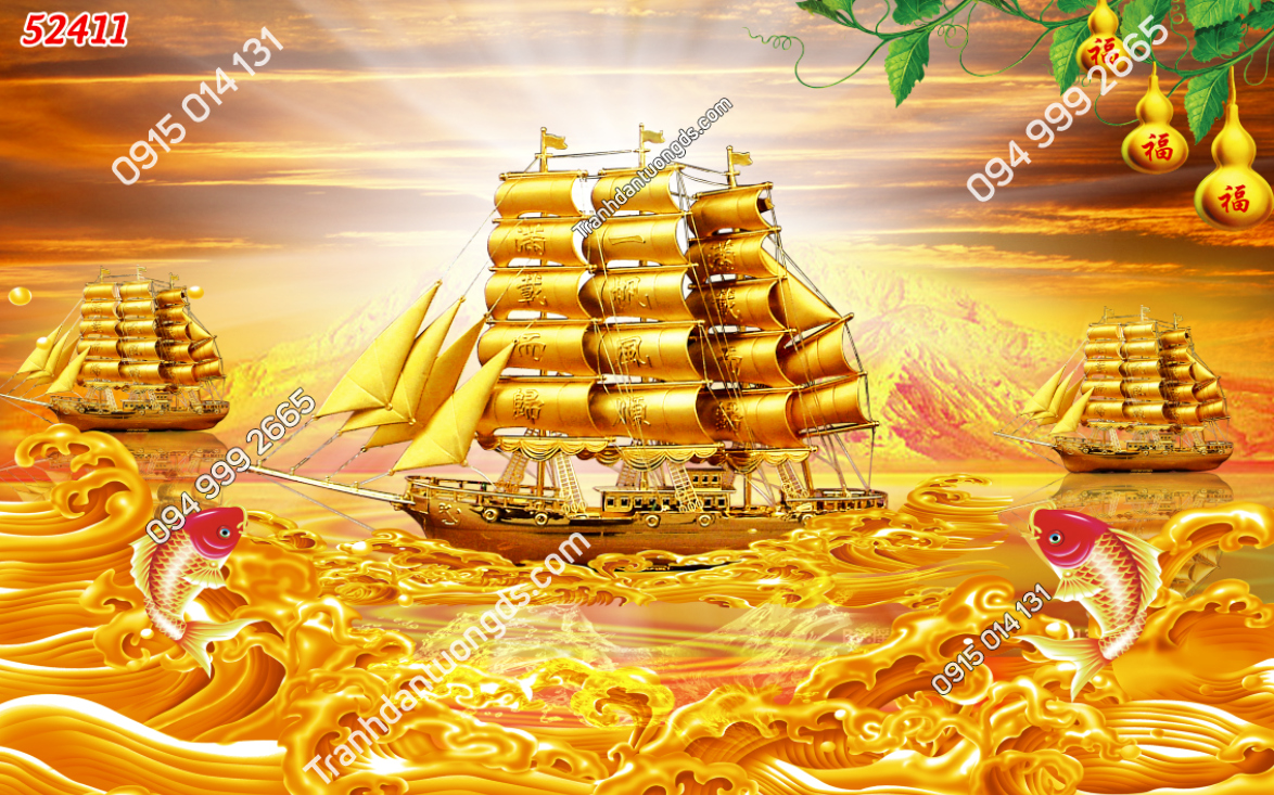 Tranh thuận buồm tông vàng