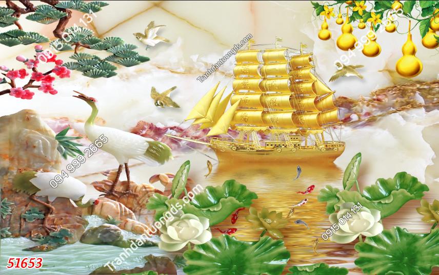 Tranh thuận buồm xuôi gió mạ vàng