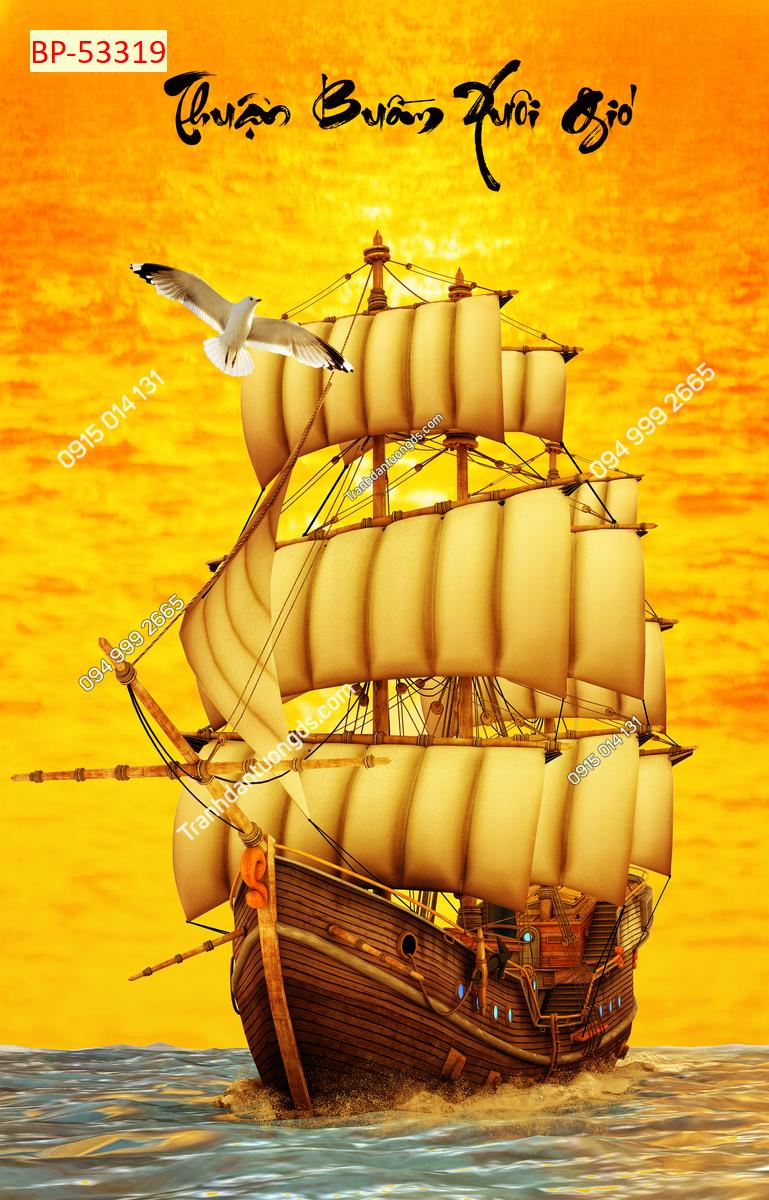 Tranh thuận buồm xuôi gió vàng khổ dọc