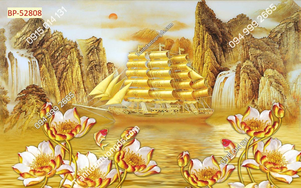 Tranh thuyền buồm vàng xuôi gió