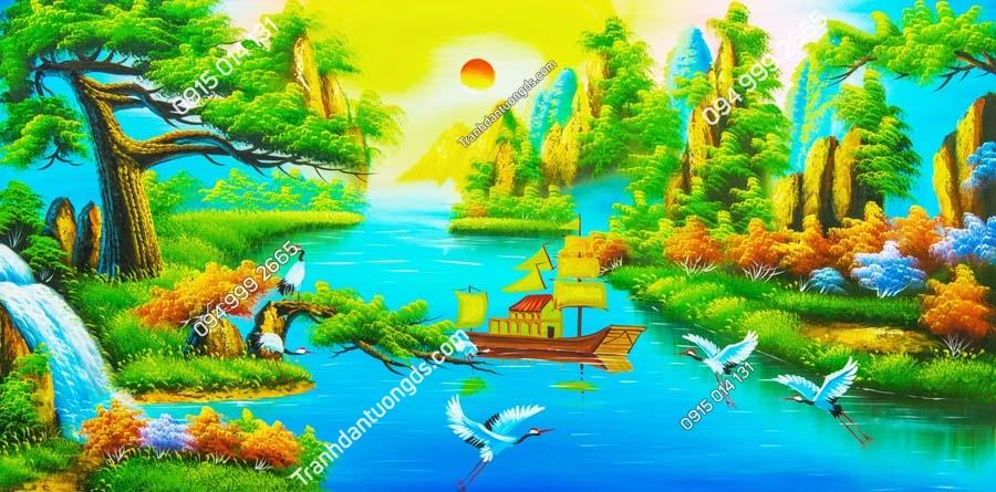 Tranh thuyền trên sông quê DQ14