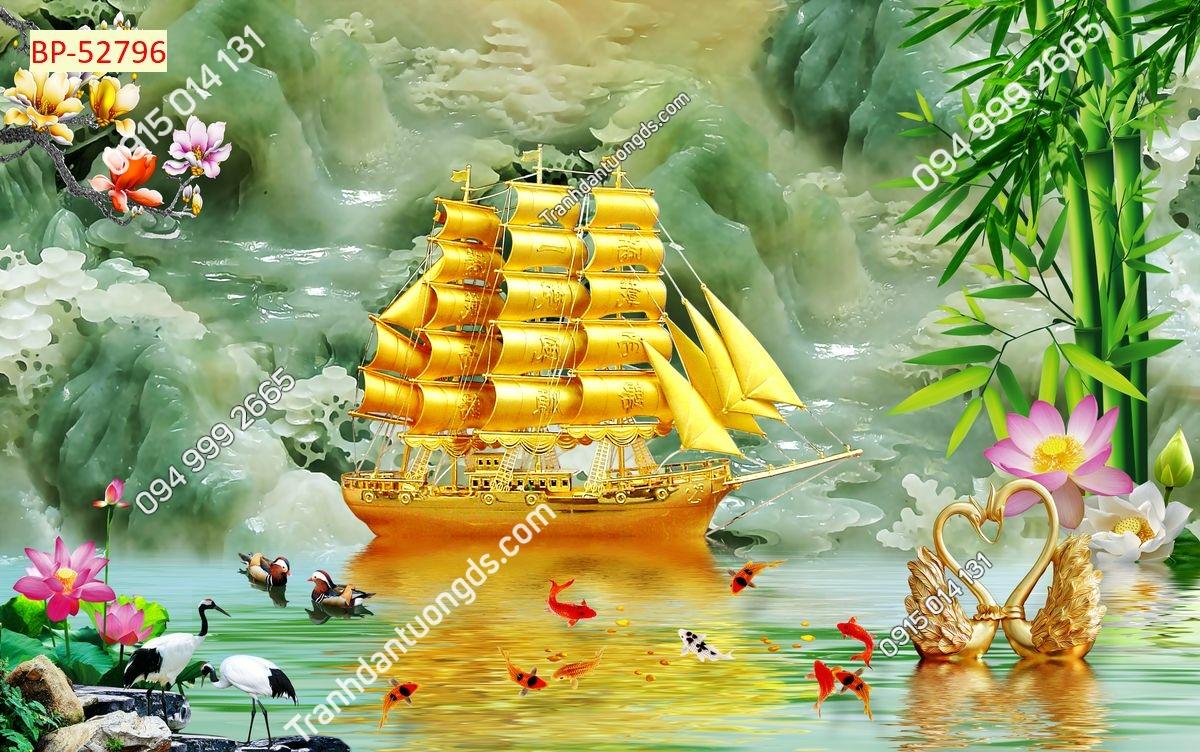 Tranh thuyền vàng xuôi gió
