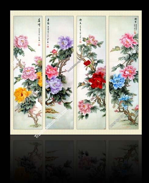 Tranh tứ quý đơn hoa TQ63