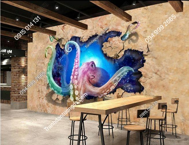 Tranh tường 3D bạch tuộc khổng lồ DS_15177326