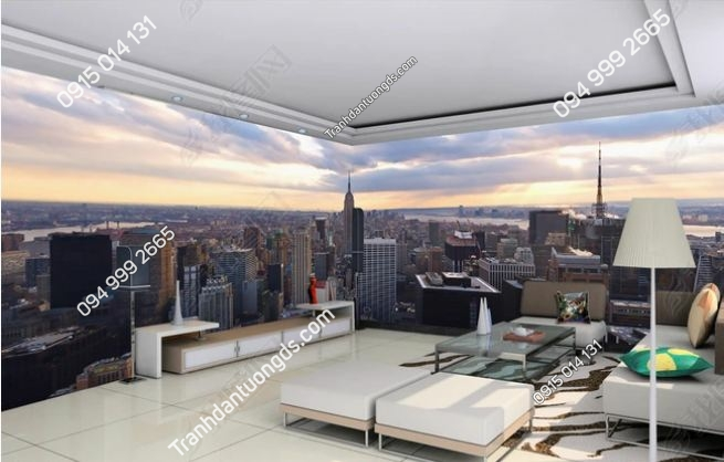Tranh tường 3D cảnh thành phố trên cao DS_14441618