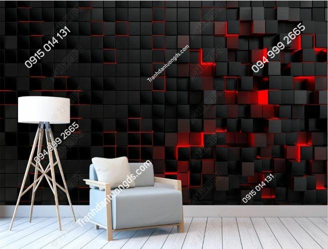 Tranh tường 3D khối đen đỏ DS_19186437