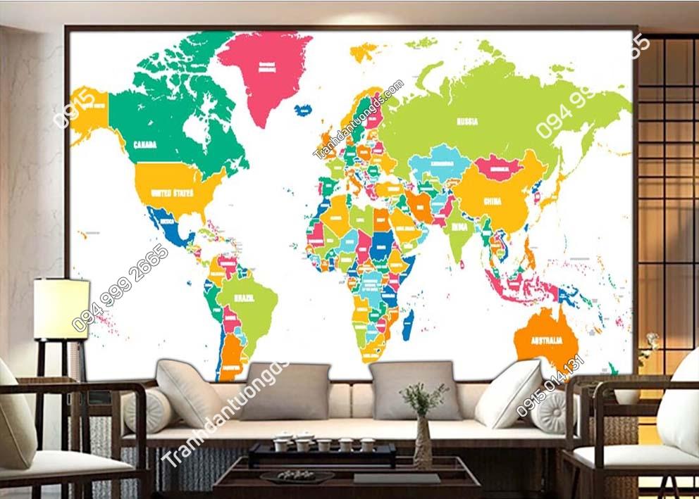 Tranh tường bản đồ bằng các màu 0058