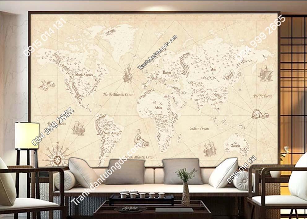 Tranh tường bản đồ các châu lục 0035
