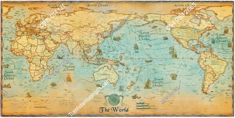 Tranh tường bản đồ các đại dương - (2218)