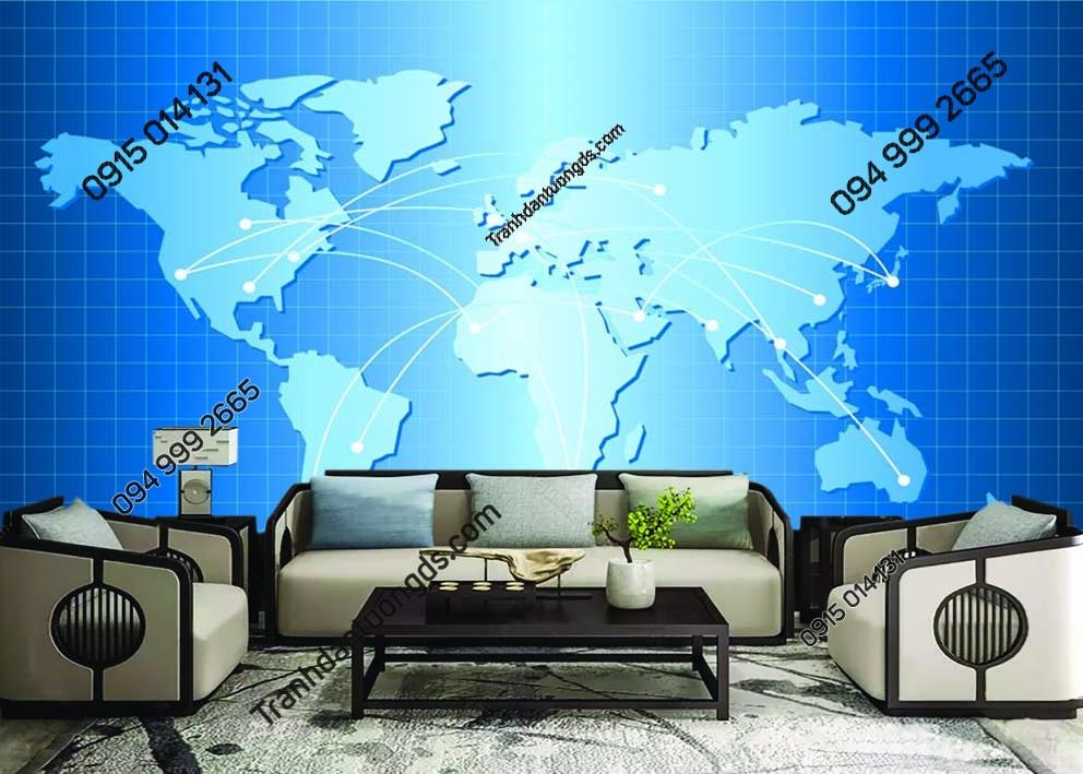 Tranh tường bản đồ dán tường sau sofa 0010