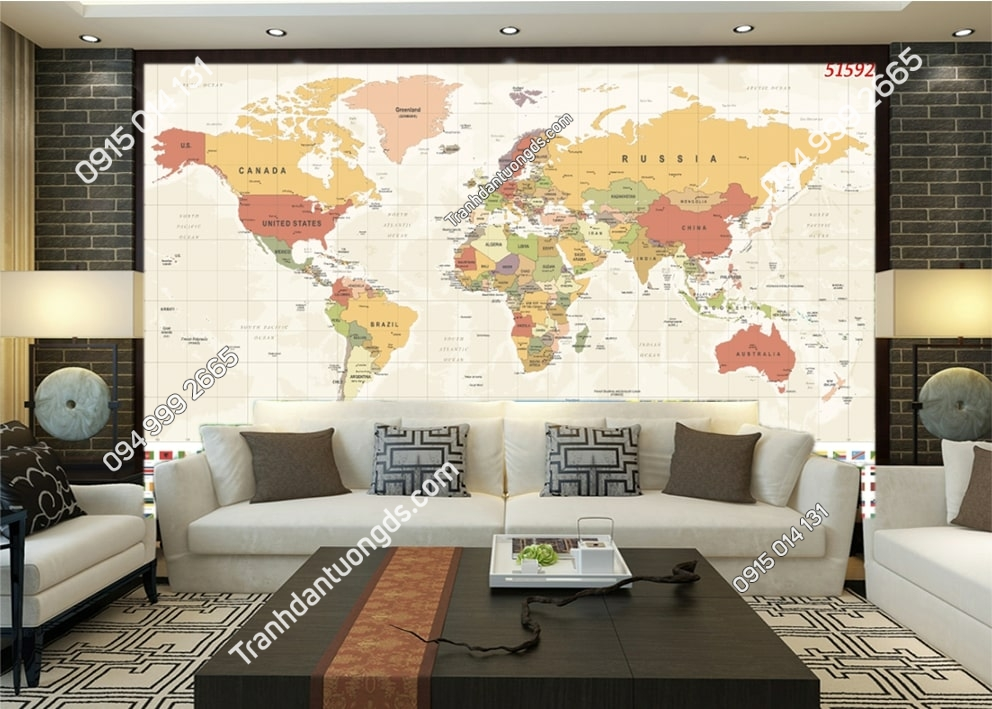 Tranh tường bản đồ dán tường sau sofa 51592