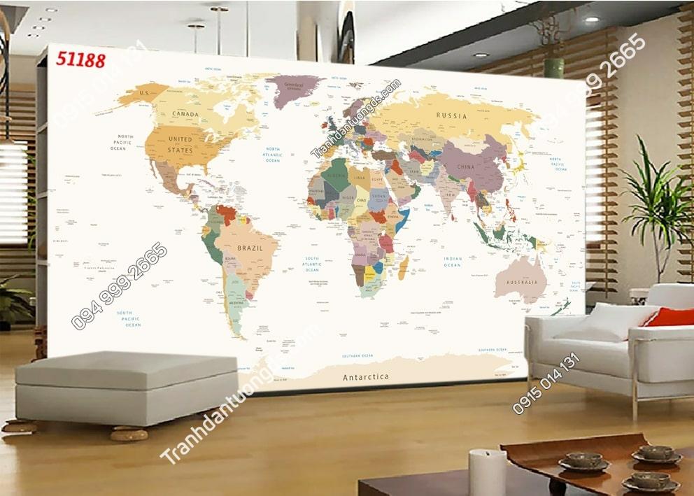 Tranh tường bản đồ hiện đại dán phòng khách 51188