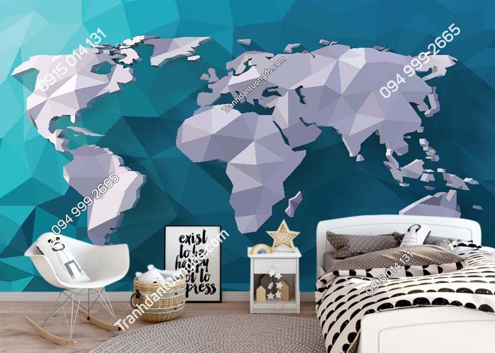 Tranh tường bản đồ hiện đại dán phòng ngủ 0060