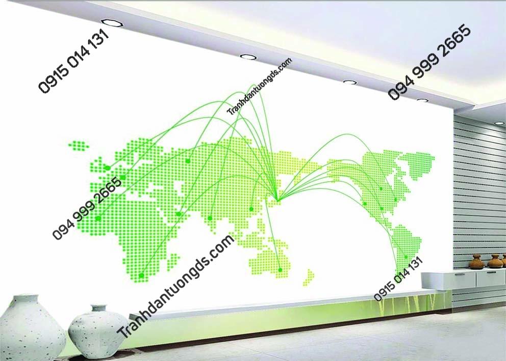 Tranh tường bản đồ hiện đại màu xanh 0014