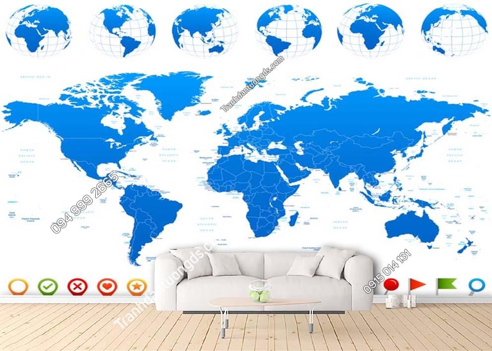 Tranh tường bản đồ hiện đại màu xanh dương nền trắng 0020