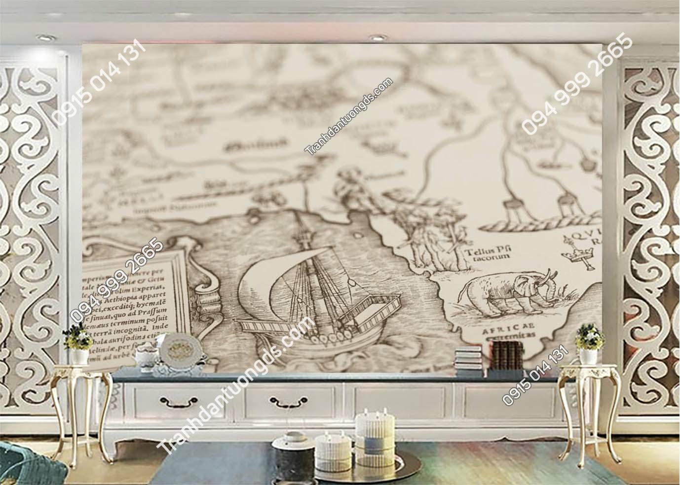 Tranh tường bản đồ kiểu vintage 0018
