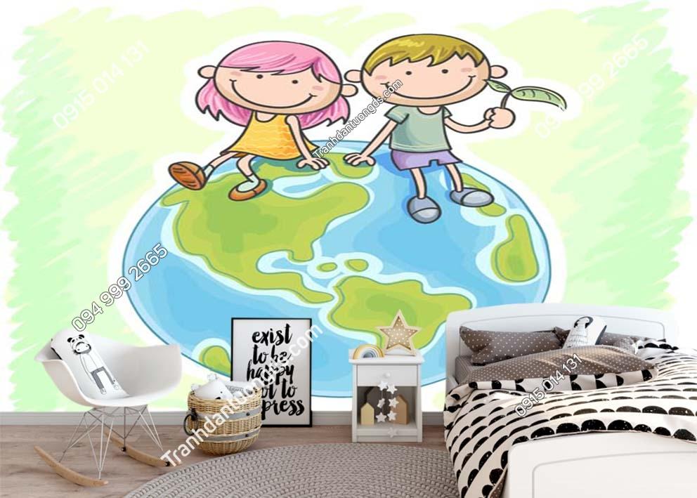 Tranh tường bản đồ phòng trẻ em 0037