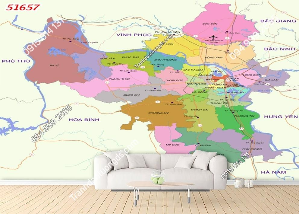 Tranh tường bản đồ thành phố Hà nội 51657