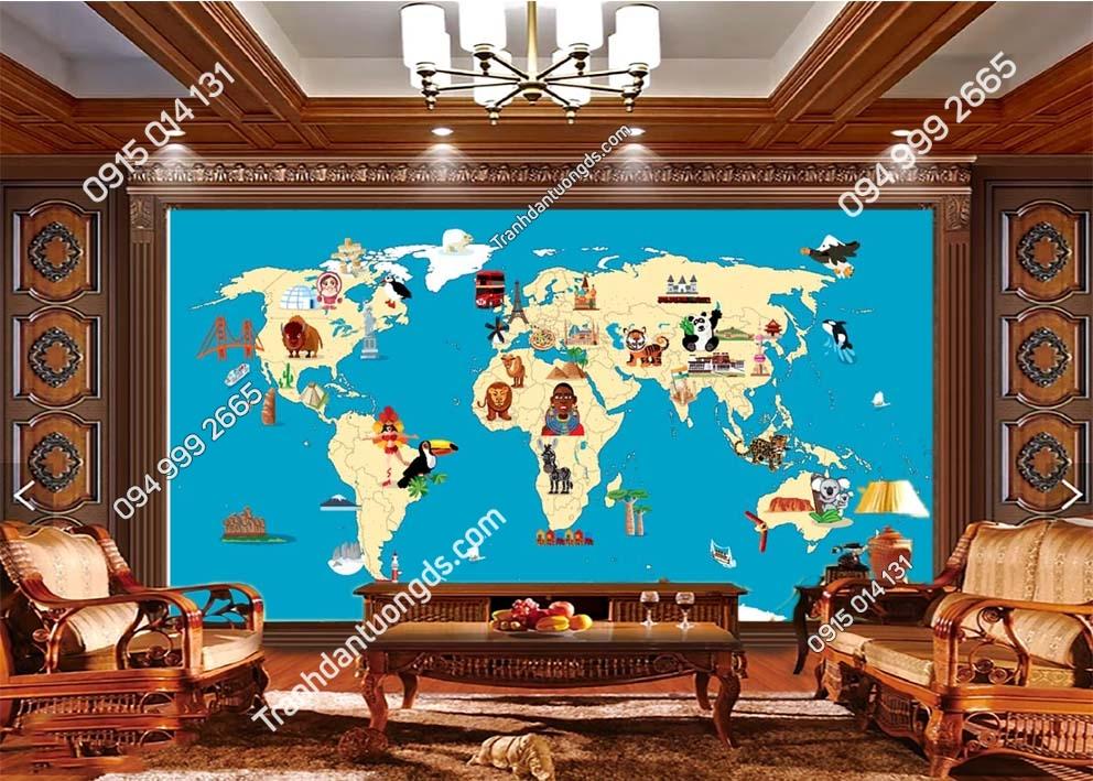 Tranh tường bản đồ thế giới hoạt hình 0042