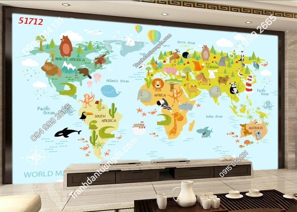 Tranh tường bản đồ và các con vật 51712